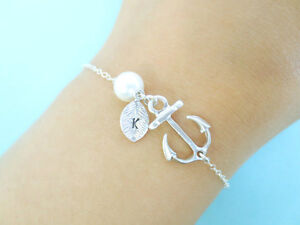 Initial, Sterling, Silver, Chain, Anchor, Bracelet Regina Regina Area image 1