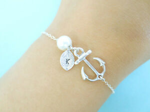 Initial, Sterling, Silver, Chain, Anchor, Bracelet
