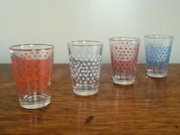 Vintage Shot Glasses, Star Shot Glasses, Vintage Glasses, Mid Century Bar Ware, Retro Home Decor