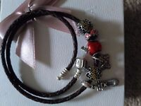 Genuine pandora double wrapped leather brown bracelet with @DISNEY collection charms