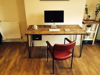 Multiple Scaffolding Desk With One Draw With Steel Hairpin Legs