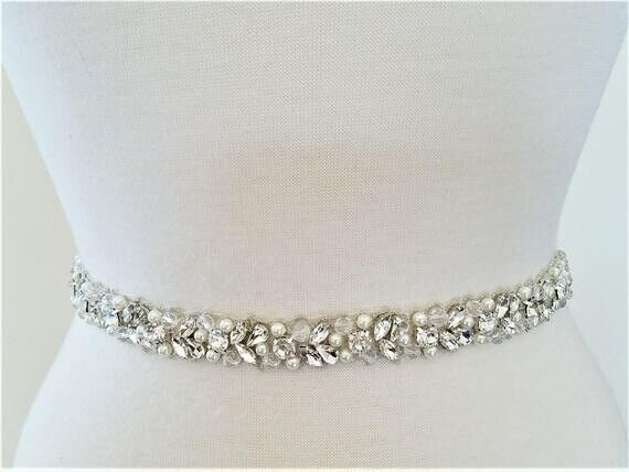 "Wedding Belt Sash Silver Clear Crystal Pearl 18"" Beaded Part Off White Ribbon"