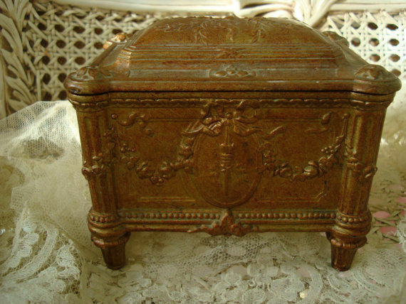 Charming Antique French Ormolu Vanity Table Jewelry Box Casket Roses & Garlands