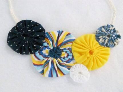 Floral Quilt Fabric Necklace Art Bib Statement Wedding Etsy Klemzig Port Adelaide Area Preview