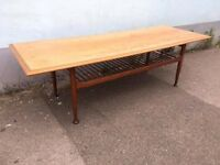 1960s Danish Long John Coffee Table + Magazine Rack. Vintage/Retro/Mid Century