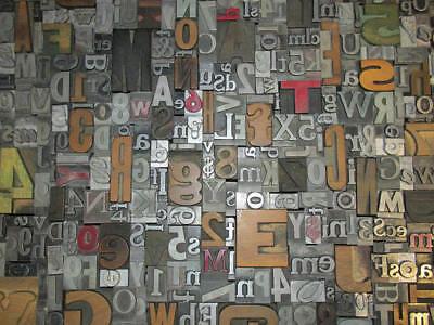 Lot Of 50 Vtg Wood Metal Letterpress Print Type Blocks Alphabet Letters Numbers