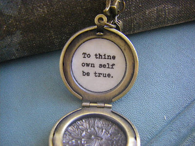 To thine own self be true locket necklace Shakespeare Hamlet quote locket (To Thine Own Self Be True Quote)