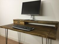 Reclaimed Pine Desk & Monitor Stand With Drawer Solid Wood Metal Hairpin Legs