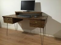Reclaimed Pine Desk With 2 Drawers & Monitor Stand Solid Wood Metal Hairpin Legs
