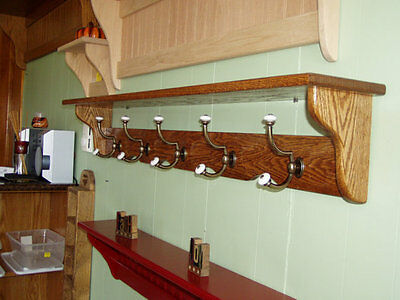 48 Wall Coat Rack (Coat Rack Wall Shelf Open Back with Brass and Porcelain 48