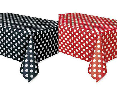2 Mickey Minnie Mouse Polka Dot Table Covers Birthday Party Red & Black  - Polka Dot Party