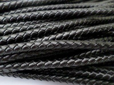 Black Round Bolo Braided Leather Cord 3mm, 4mm, 5mm, 6mm 2 Yards Free Shipping