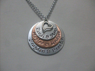 Heart Family Grandma Mom Mother Personalized Handmade Necklace Copper & Aluminum