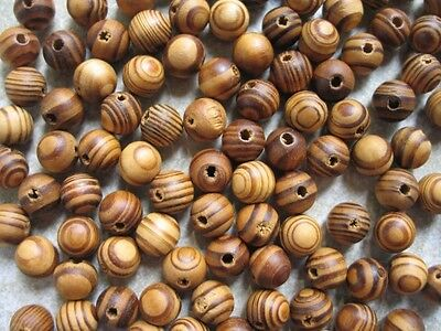 50 Wood Burly Natural Beads 11mm Brown Wooden Jewellery Making Crafts J14230
