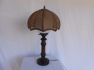 Cane wicker umbrella lamps