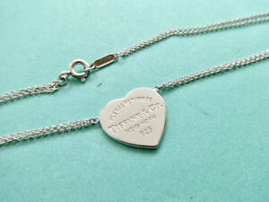 Tiffany heart pendant necklace on a double chain