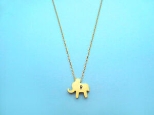Personalized, Initial, Cute, Baby, Gold, Elephant, Necklace