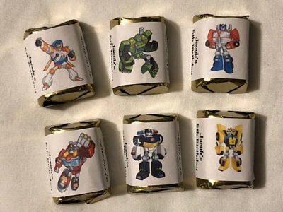 Rescue Bots Party Favors (30 PERSONALIZED TRANSFORMERS RESCUE BOTS PARTY FAVOR NUGGET CANDY LABELS)