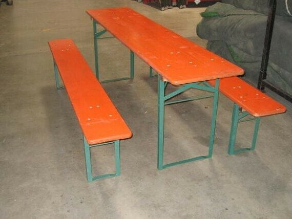 Vintage Stenciled Orange Beer Garden Set, Biergarten table