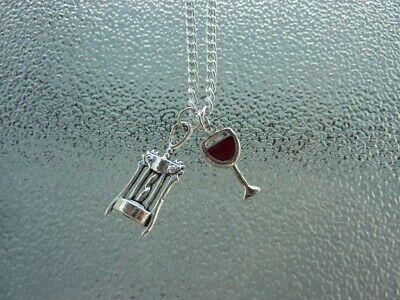 Wine glass necklace, wine jewelry, bottle opener, wine, wine glass, red wine, - Wine Glass Necklace