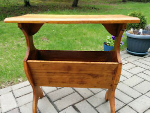Lovely Vintage Narrow Solid Wood End Table with V-shaped lower S