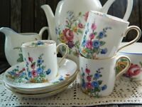 3 x Antique Crown Staffordshire Demi Tasse Hand painted Floral Tea Cups 22KT Gold Pattern 712814