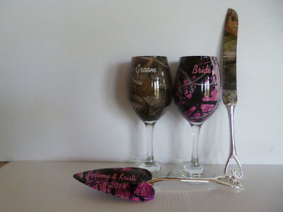 Camouflage bride and groom wine glasses and serving set