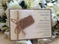 Handcrafted Rustic Lace Wedding Invitations