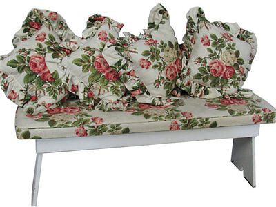Vintage Shabby Farmhouse Bench w/ Waverly -