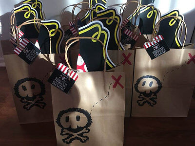 Set of 10 Pirate favor bags goodie bags, loot bags, pirate birthday party - Pirate Loot Bags