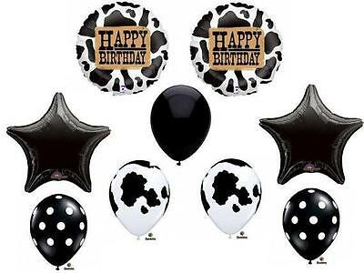 COW Print Birthday Balloons Decoration Supplies Party Farm Tractor Cowgirl (Cow Print Party Supplies)