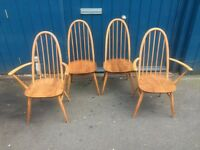 Set of Four 1960s Ercol Windsor 'Quaker' Dining Chairs. Vintage/Retro/Mid Century.
