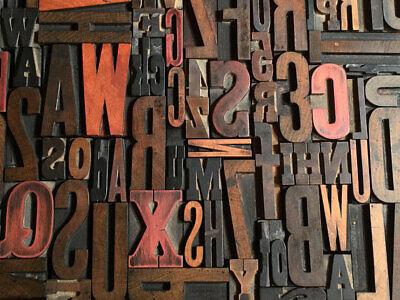 Lot Of 100 Antique Vtg Wood Letterpress Print Type Block Alphabet Letters S