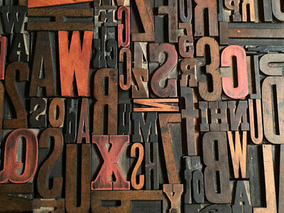 Lot Of 50 Antique Vtg Wood Letterpress Print Type Block Alphabet Letters Numbers