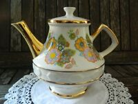 Vintage Taunton Vale Teapot 'Gibson' Multicolour Yellow/Orange/Purple/Green Floral/22 KT Gold Finish