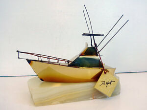 Signed Demott Fishing Boat    Original with Tag,,  VERY RARE Cambridge Kitchener Area image 1