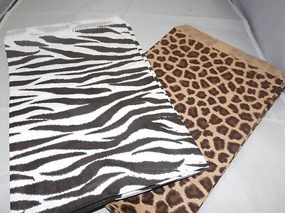50 6x9 Zebra And Leopard Animal Print Paper Merchandise Bags Party Treat Bags