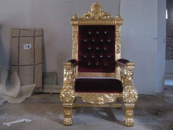 BRAND NEW   Tokyo King Queen Throne Chair Wedding Gold Leaf Gilded Carved  Armchair Chairs Velvet