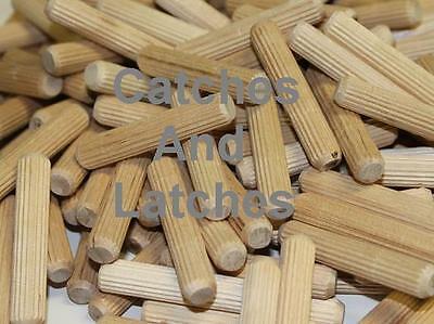 100 x Ø 8mm - 30mm Length  Wooden Dowels Pins Plugs Hardwood Fluted  BEECH Dowel