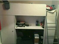 **BAILEY HIGH SLEEPER WITH WARDROBE, DESK AND SHELVES EXCELLENT CONDITION WITH MATTTESS ONLY £90**