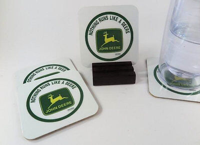 John Deere Coasters_Metal _. Set of 4 with Mahogany Stand.