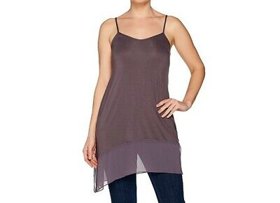 A286983 LOGO Layers by Lori Goldstein Solid Camisole with Chiffon Angled (Logo Cami)