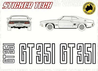 FALCON 73 TO 76 XB GT 351 STICKER DECAL KIT TO SUIT FORD XB COUPE & SEDAN V8 (Ford Falcon Xb Gt Coupe V8 351)