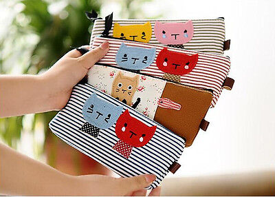 Cute Cat Pencil Case Canvas Cartoon Stripe Pouch Bag Organizer Children Women