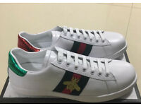 Gucci white leather bee and stripes ace low top trainers, Brand New