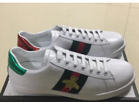 Gucci white leather, snake style ace low top trainers, Brand New
