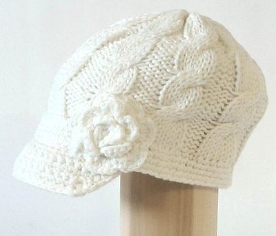 5pc Women's Hand Knitted Newsboy Caps w/Short Soft Visor Side Crochet Flower