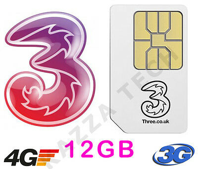 THREE PAYG SIM CARD WITH 12GB FREE DATA PRE-LOADED For MIFI Dongle Tablet 3G 4G