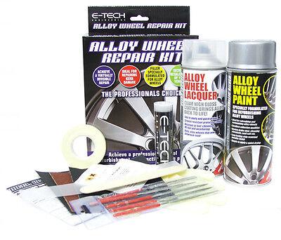 E-Tech Car Alloy Wheel Refurbishment Repair Paint Lacquer Putty Full Kit- Silver