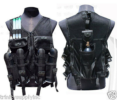 Paintball gear vest  Protector accessories pod holder Tank holder black.